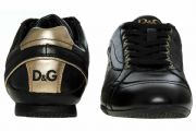 DOLCE GABBANA DG Black & Gold Soft Leather Trainers Sneakers